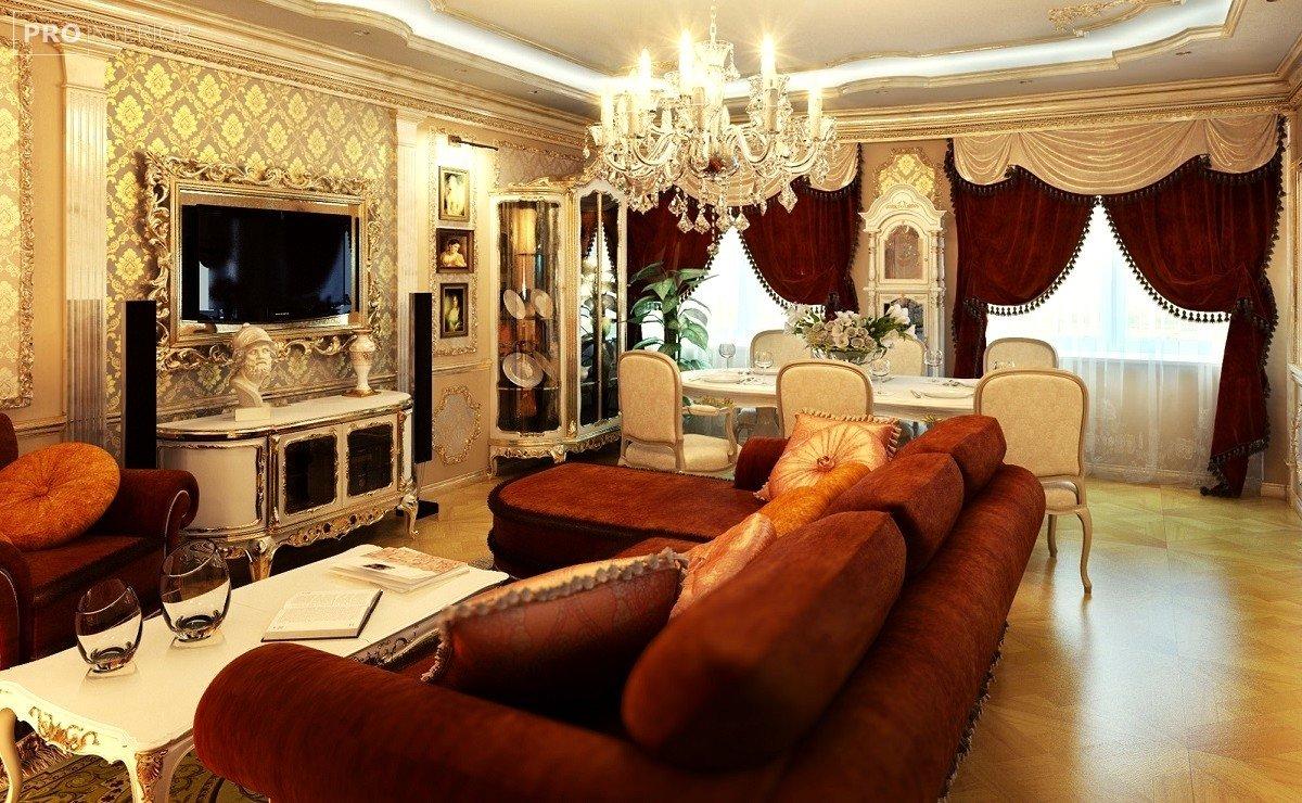 інтер'єр вітальні в стилі класицизму