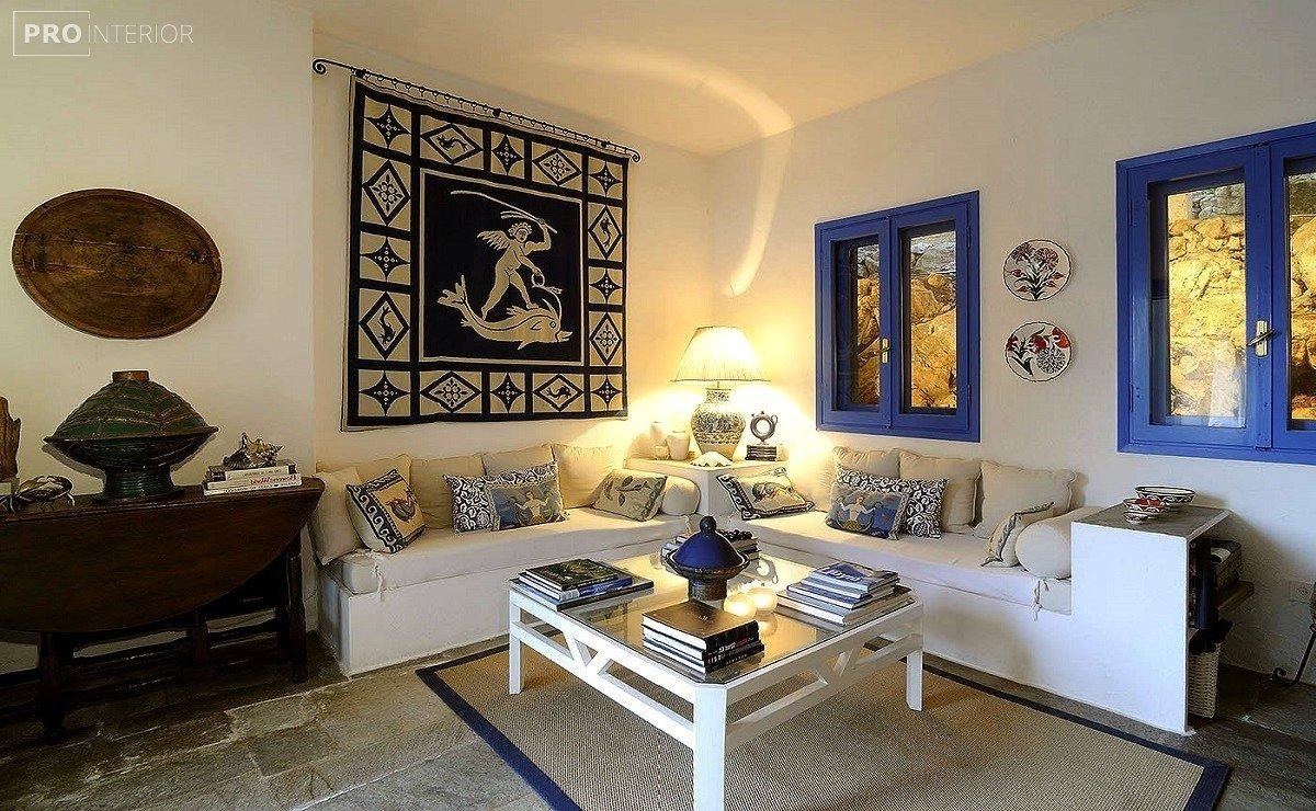 греческий стиль комнаты в интерьере
