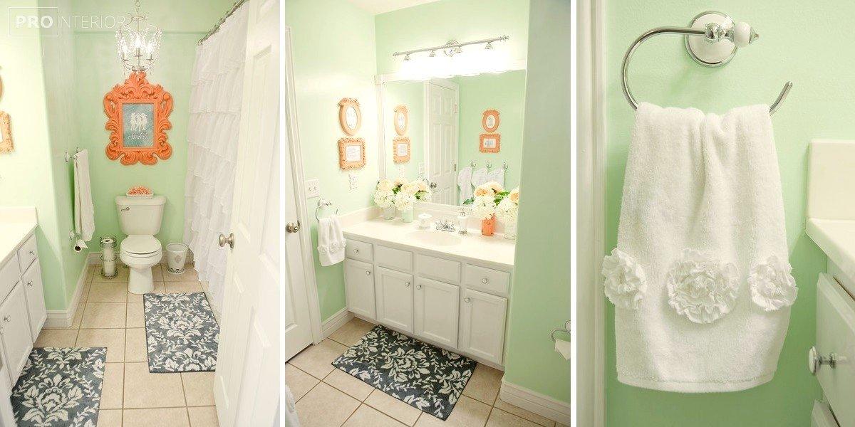 ванная в мятном цвете