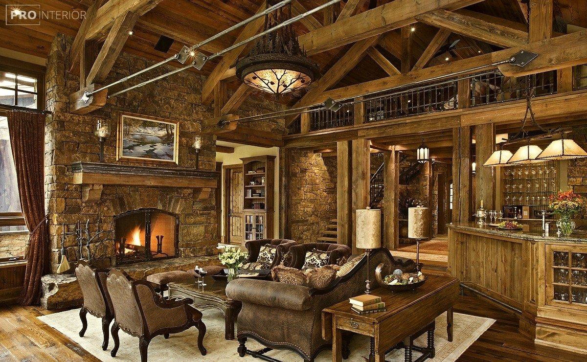 интерьер гостинной в рустикальном стиле