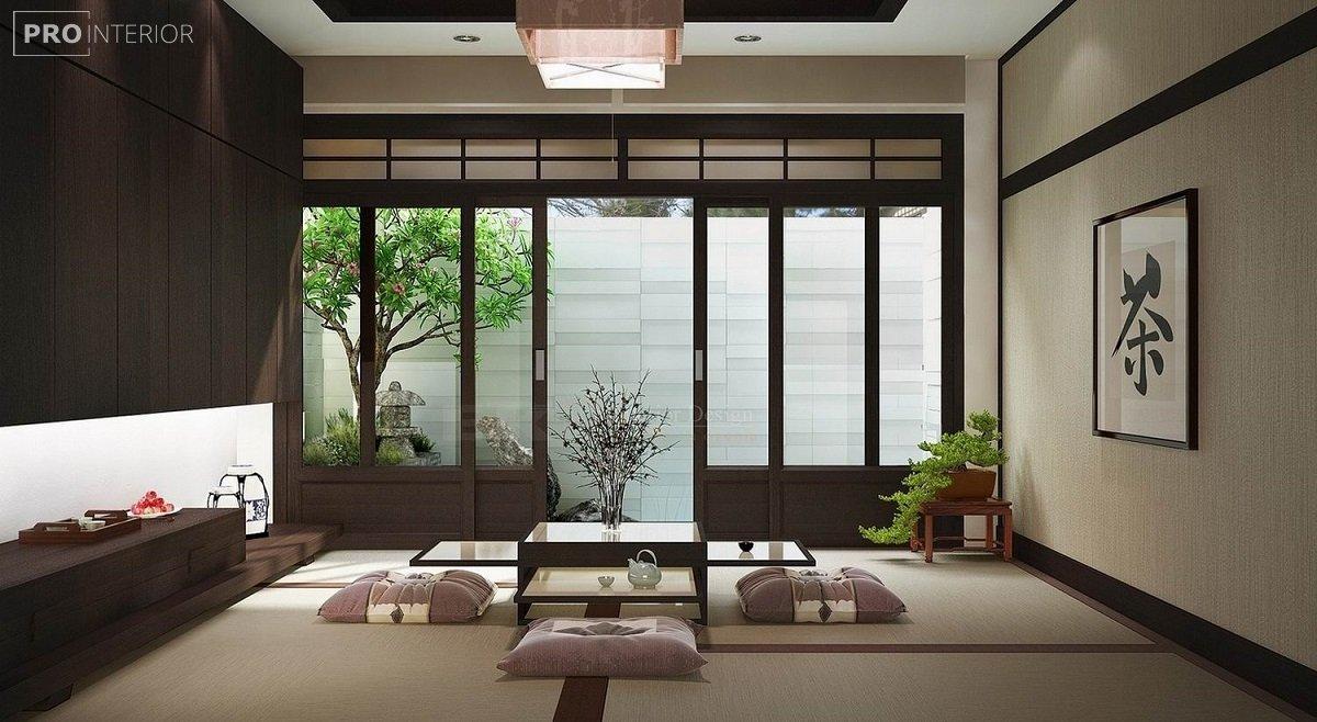 интерьер гостинной дзен