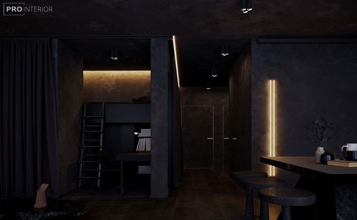 чорні стіни в інтер'єрі