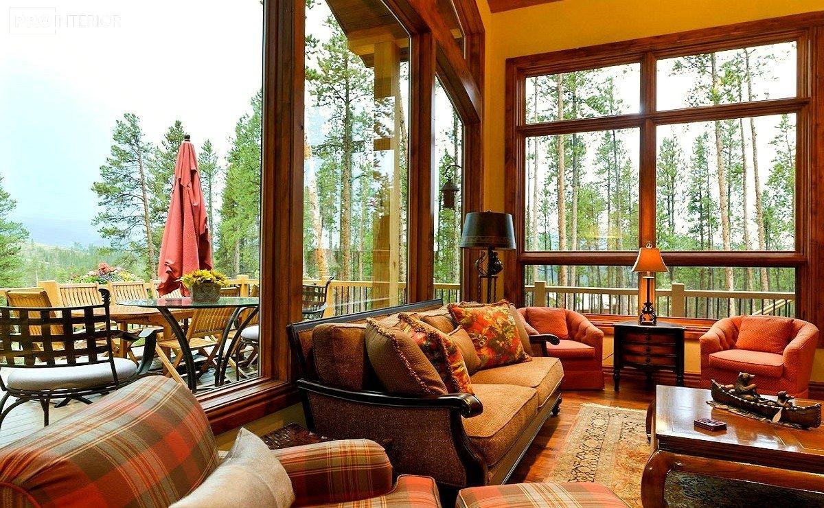 интерьер гостинной в канадском стиле