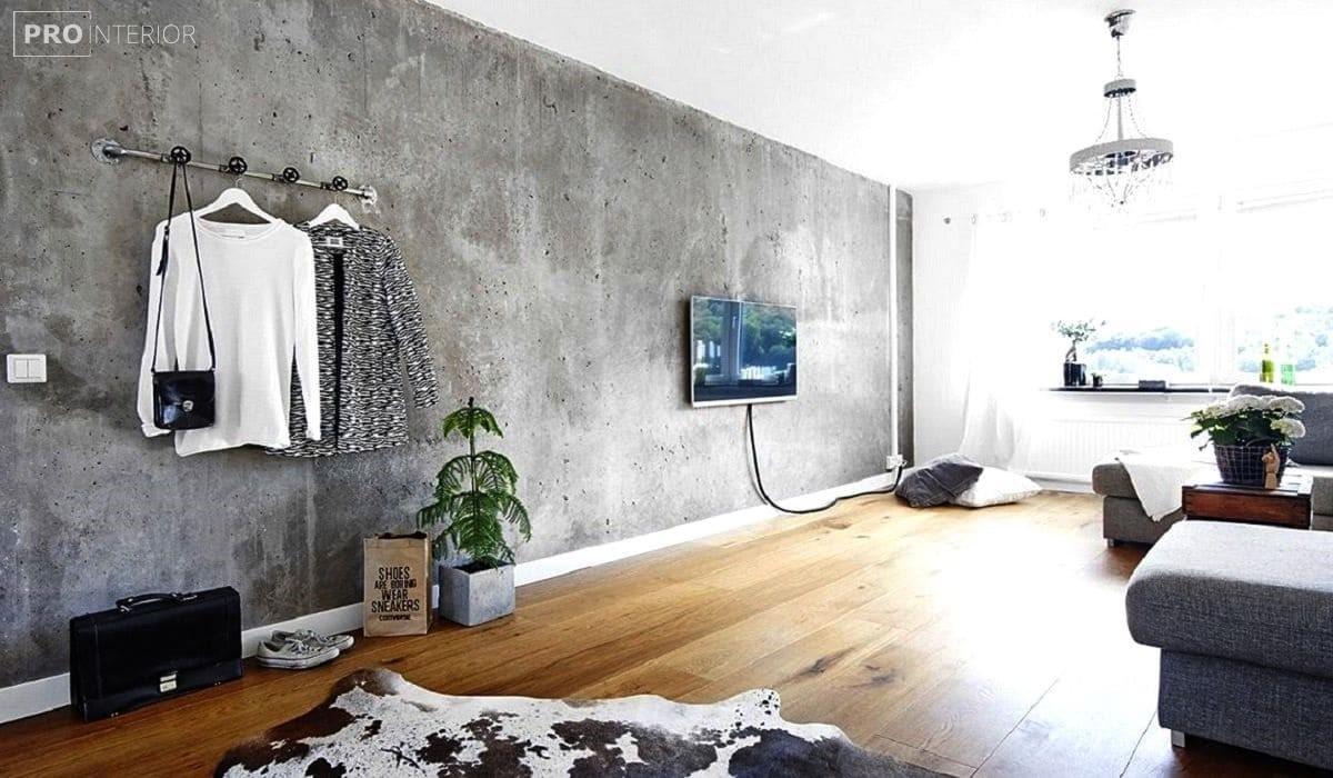 бетон в інтер'єрі спальні