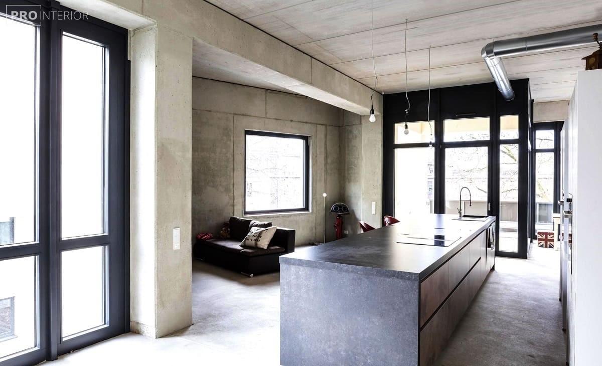 бетонний інтер'єр на кухні