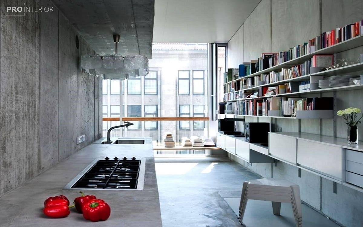 голий бетонну стелю в кухні