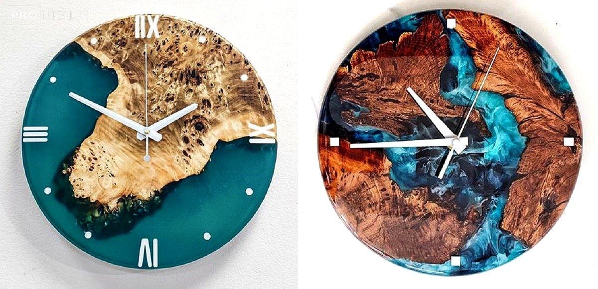 настенные часы из слэба
