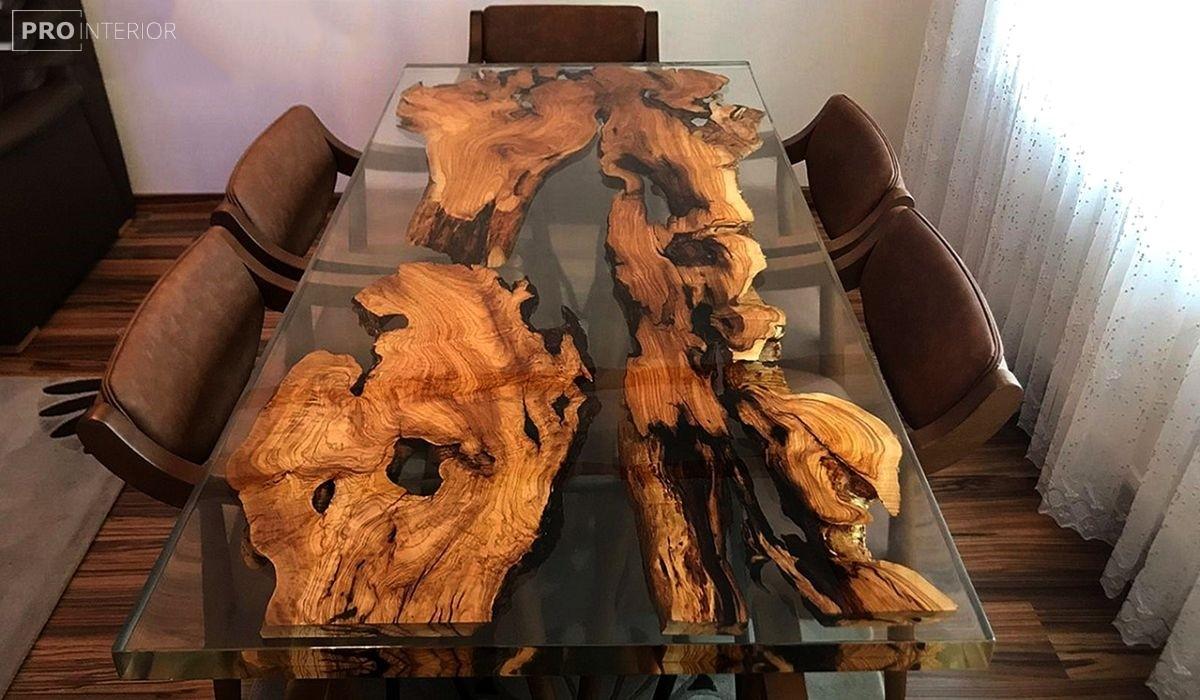 стол из слэба в прозрачной смоле