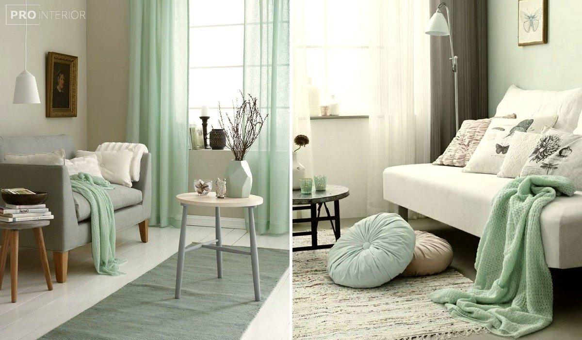 кімната в м'ятному кольорі
