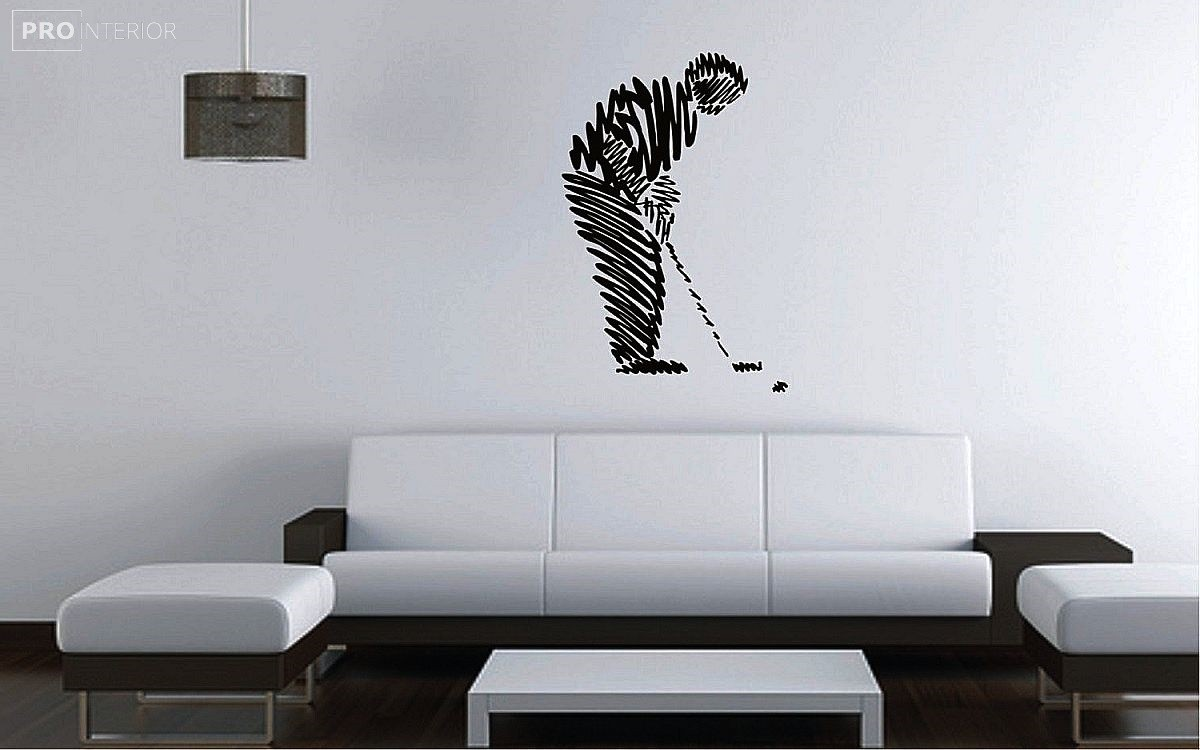 drawings on the wall in the living room